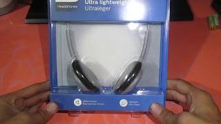 unboxing philips ultra light weight headphones sbc-hl-140