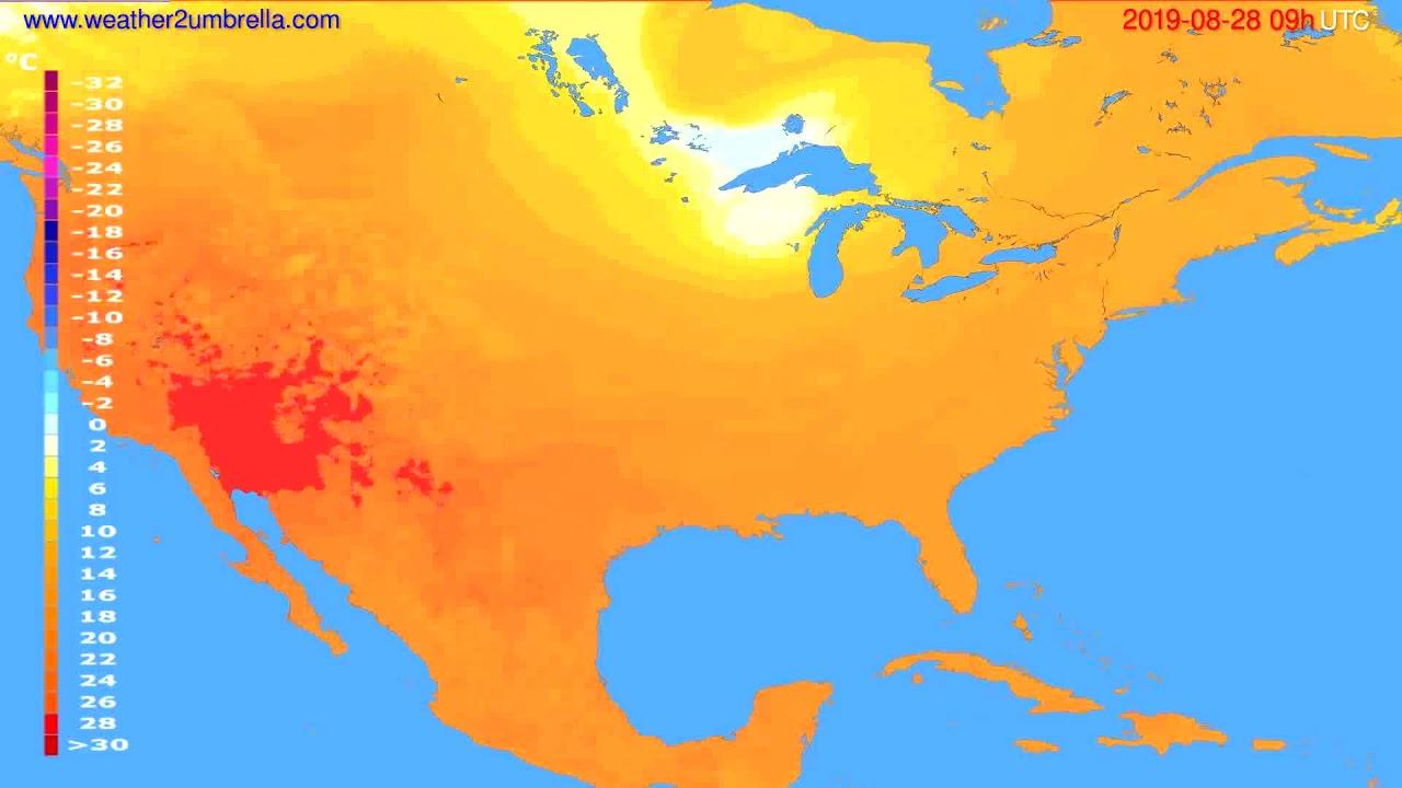 Temperature forecast USA & Canada // modelrun: 12h UTC 2019-08-26