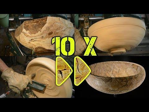 Nr. 32 (Teil 1/2): Obstschale aus gestockter Birke drechseln, 10-fach beschleunigt