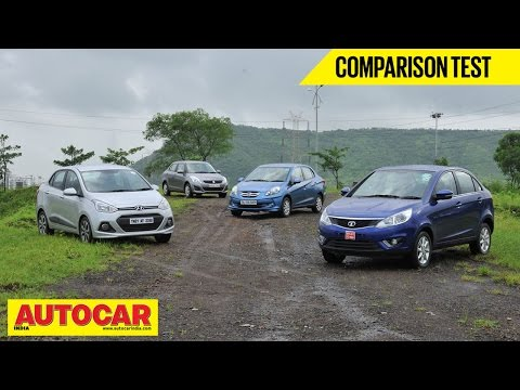 Honda Amaze vs Tata Zest vs Maruti Dzire vs Hyundai Xcent | Comparison Test | Autocar India