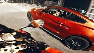 Устроили ночные гонки по городу - Мотоцикл VS  Ford Mustang