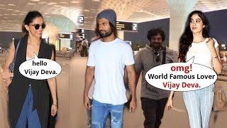 Telugu Star VIJAY Deverakonda Grand Welcome by Deepika Padukone & Jhanvi Kapoor   Spotted at Airport