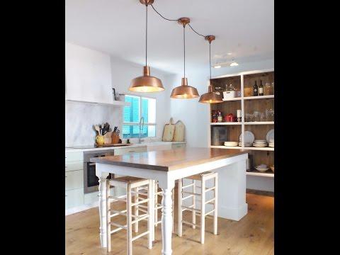 Ideas para Decorar tu Casa : Cocinas con Lamparas Estilo Industrial