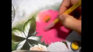 Crisantemos parte 01 pintura em tecido