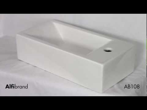Video for Small White Modern Rectangular Wall Mounted Ceramic Bathroom Sink Basin