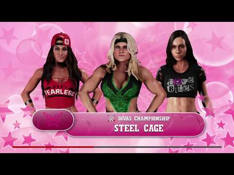WWE 2K18 AJ Lee VS Nikki Bella,Beth Phoenix Triple Threat Steel Cage Match WWE Divas Title