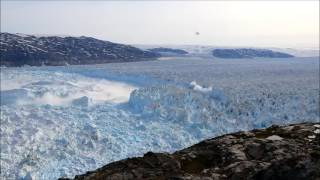 Huge calving event at Helheim glacier in southeast Greenland.