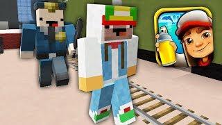 Сабвей Серф бежит от Охранник коп нуб в Майнкрафт ! Ловушка для нуба в Minecraft Subway Surf