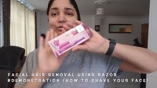 Facial Hair Removal Using Razor #Demonstration PHILIPS Precision Perfect (How to shave your face)