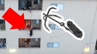 Grappling Hook Climb Into Apartment! (SKETCHY)