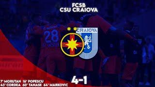 REZUMAT| FCSB - Universitatea Craiova 4-1. Moruțan gol senzațional. Echipa lui Becali, joc fantastic