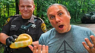 FINDING A PYTHON IN THE WOODS!! WHY YOU SHOULD NEVER RELEASE A PET INTO THE WILD!! | BRIAN BARCZYK