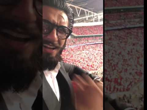 Ranveer Singh Watching Arsenal Vs Chelsea FA Cup 2017 LIVE