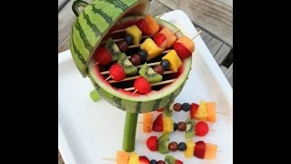 Watermelon Grill With Fruit Kabobs - Tutorial .