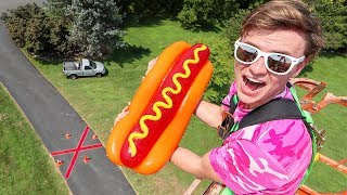 DROPPING MASSIVE GUMMY HOT DOG 60FT!! - Video Youtube