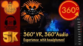 [5K 360° VR, 360°Audio] Happy HalloWishes Fireworks 2018 Best Version - Magic Kingdom, Disney World