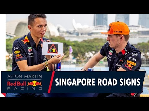 Image: Watch Verstappen and Albon have fun with Singapore traffic signs!