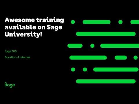 Sage 300 - Awesome training available on Sage University! - YouTube