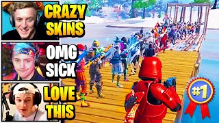 Streamers Host 100 PLAYER Crazy SKIN CONTEST & Bullrush | Fortnite Daily Funny Moments Ep.508