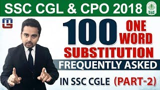 100 One Word Substitution Part - II   English   SSC CGL   CPO 2018   5:00 pm