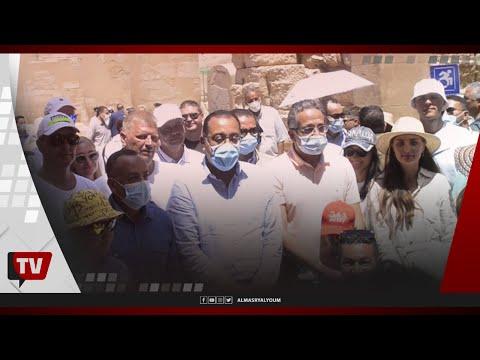 رئيس الوزراء ووزير الآثار يتفقدان أعمال ترميم صالة الأعمدة بمعبد الكرنك والممشى السياحي بالأقصر