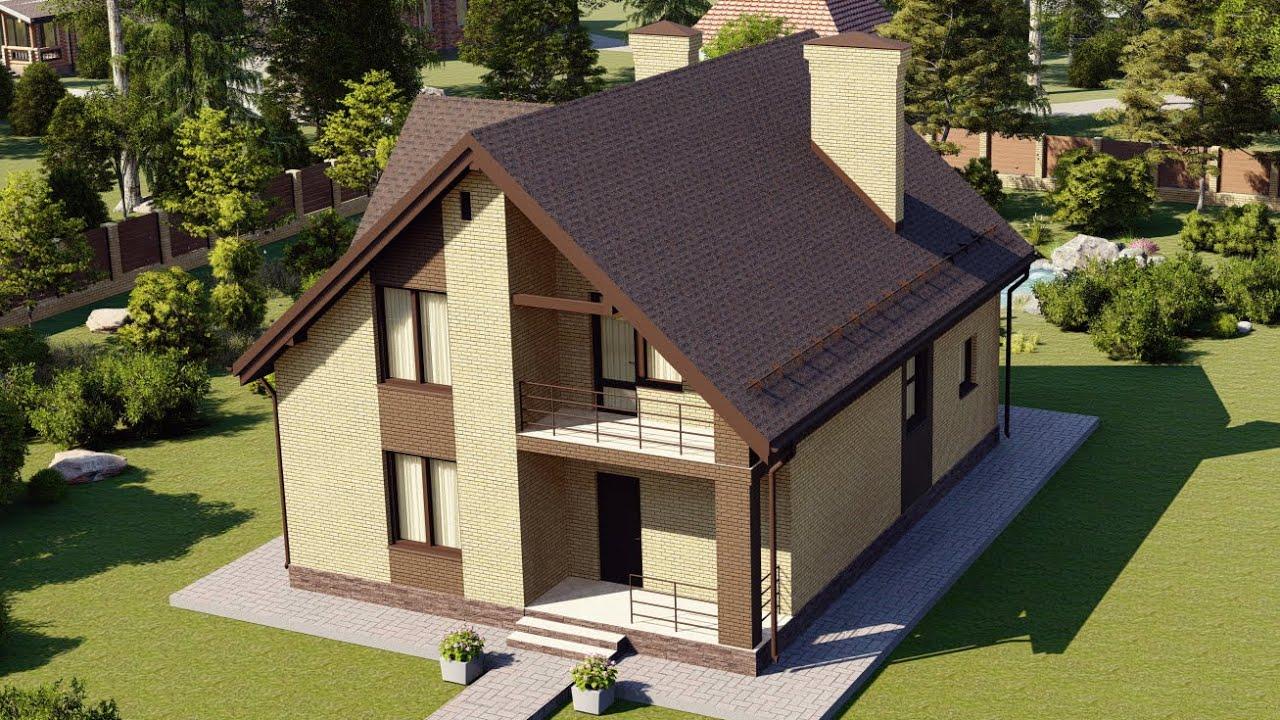 Проект дома с мансардой и балконом 180 кв м