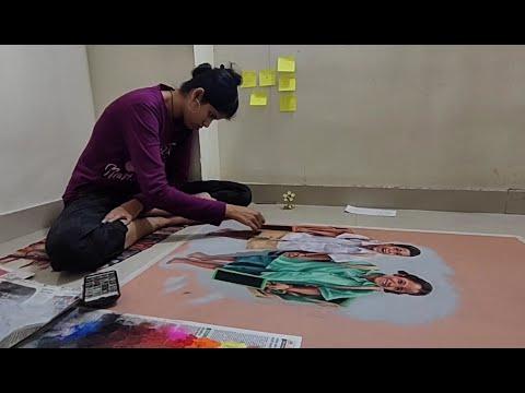 realistic 3d portrait rangoli art school students by bhagyashree