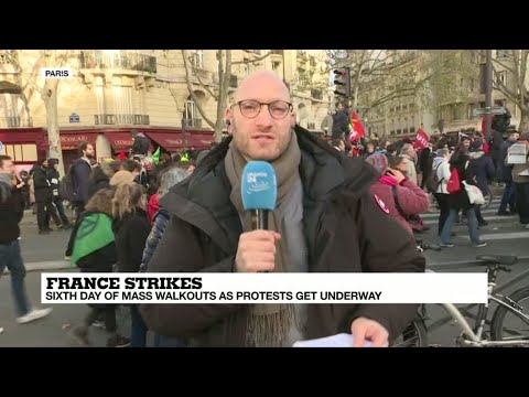 French strikes: Sixth day of mass walkouts as protesters get underway