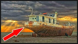 Abandoned Ships on an dried sea. Aral Sea Eco-Disaster