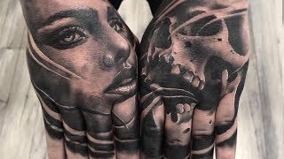 Timelapse | MacG Tattoos   Double Hand Job In 1 Session - The Skull Museum