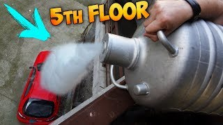 POURING 5 GALLONS OF LIQUID NITROGEN ON MY CAR FROM FIFTH FLOOR!!! | Kholo.pk