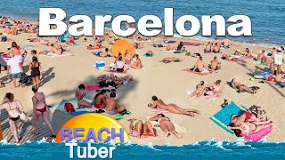 4K VIDEO BEACH WALK [ Barcelona ] SPAIN SLOW TV Travel Vlog