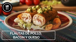 FLAUTAS DE POLLO, BACON Y QUESO | Ideal para una fiesta