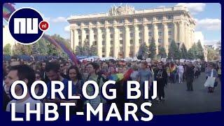 Honderden demonstranten verstoren eerste lhbti-mars in Charkov | NU.nl