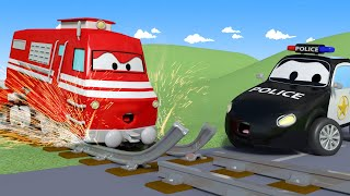 Car Patrol -  Troy the TRAIN Can't Drive on BROKEN Rails!  - Car City ! Police Cars and fire Truc...