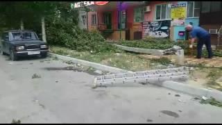 Ветер повалил столбы и деревья в Махачкале