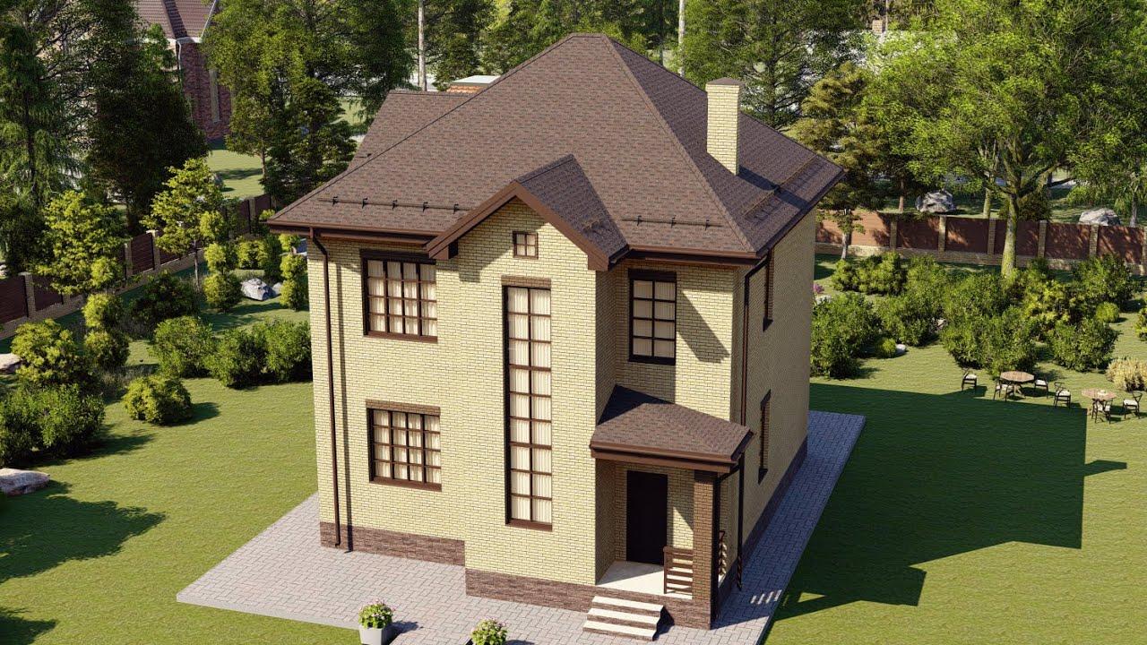 Двухэтажный дом из кирпича для небольшого участка