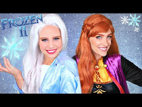 Disney Frozen 2 Elsa and Anna Makeup and Costume Elsa, Anna, Kristoff and Olaf Head Into the Unknown видео