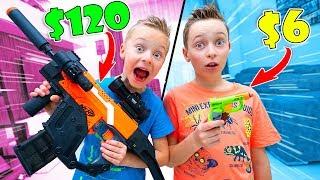 $120 Nerf Blaster Vs $6 Nerf Blaster Fun Challenge For Kids