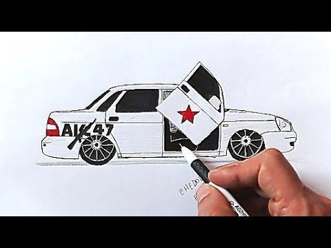 Как нарисовать машину БПАН Приора