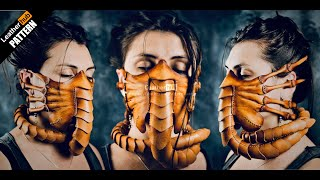 Making The Facehugger Mask Out Of Leather - With Pattern