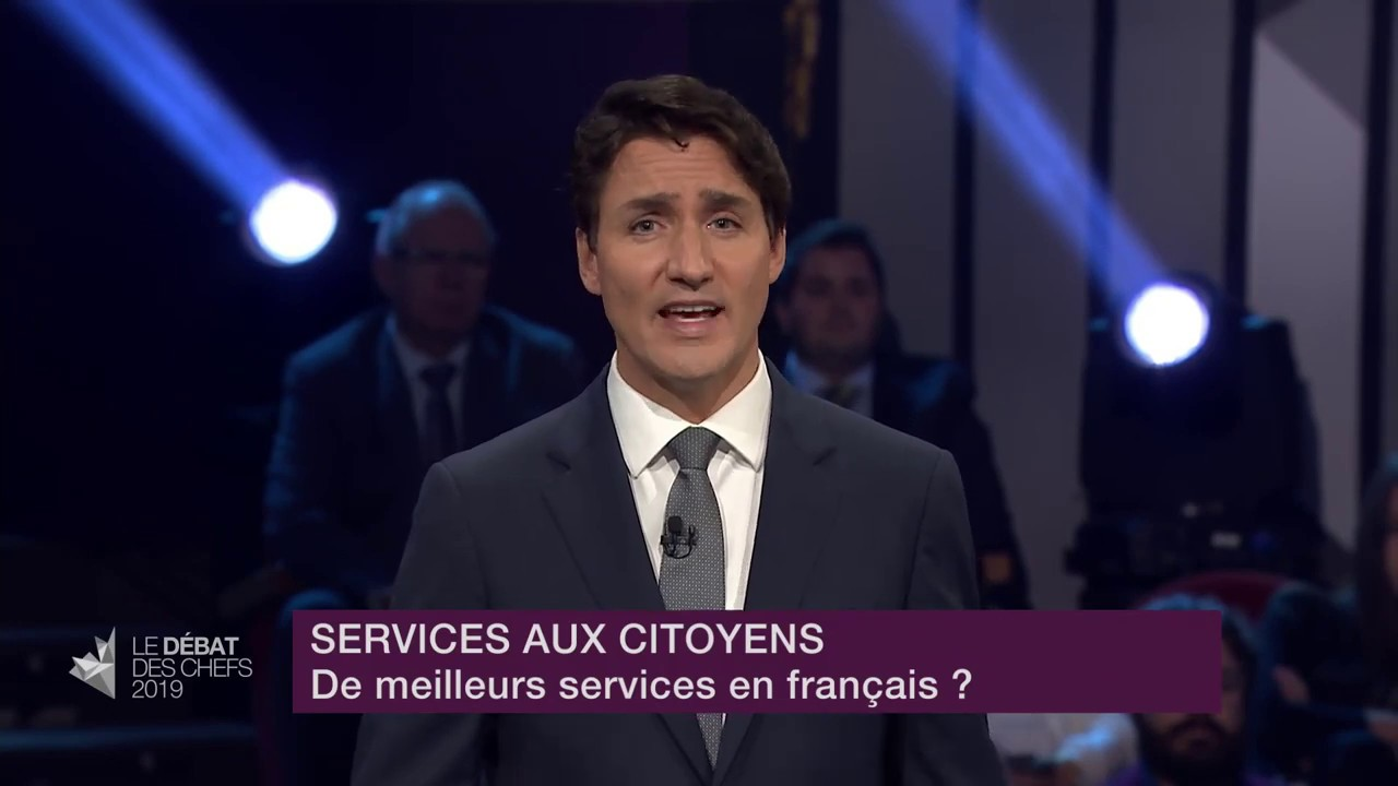 Justin Trudeau answers a question about services in French