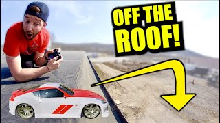 DRIVING THE CHEAPEST RC CAR AT TARGET OFF A BUILDING.