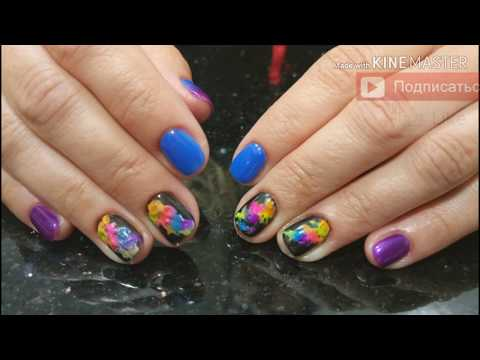 Эффект дыма на ногтях 😍. Как использовать неоновые пигменты. ПРЕОБРАЖЕНИЕ