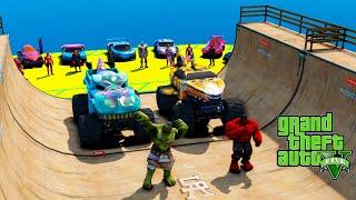 Red & Green Hulk Bigfoot Monster Truck vertical Ramp Superheroes GTA V ! Халки и Машины-монстры !