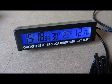 Digitale LCD Car Voltage Meter Clock Thermometer Ice Alert LED Light 12V/24V