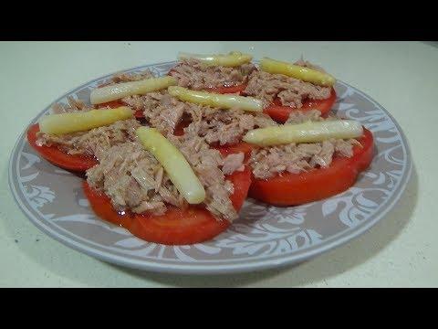 Aperitivo De Tomate Atun Y Esparragos Blancos