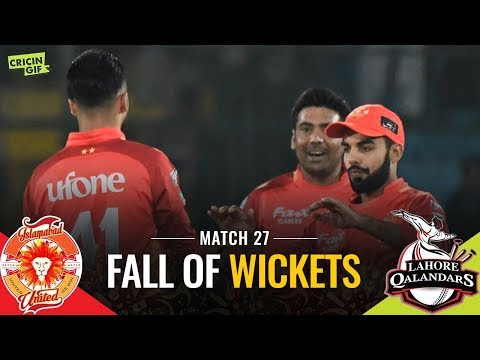 Match 27: Lahore Qalandars v Islamabad United | CALTEX FALL OF WICKETS