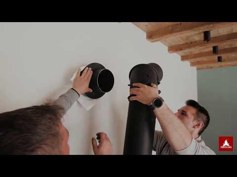 Soba pe lemne - montarea unui burlan la cosul de fum din perete