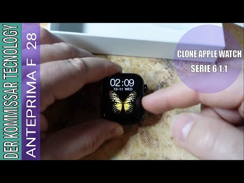smartwatch f28 unboxing e panoramica funzionamento, clone 1:1 Apple Watch 40 mm